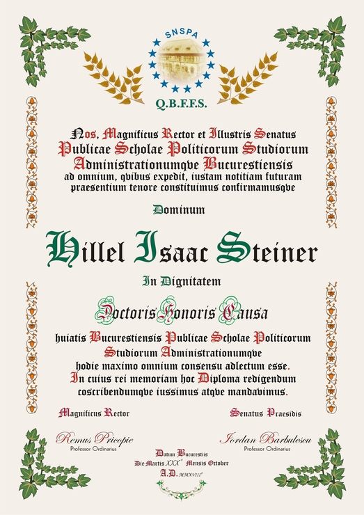 diploma DHC Hillel Isaac Steiner 523x740